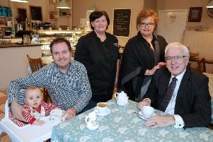 New owner of Quirky Bird Stephen Coulter is pictured with his son Caolan; Jackie Heasley; Diane Bird and Vice-Chairman of Lisburn & Castlereagh City Council's Development Committee, Alderman Allan Ewart, MBE.