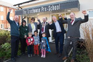 Opening of Southcourt's newly named Treehouse Pre-School, by mayor Cllr Mark Willis - pictured l-r David Finn , trustee, Claire Trimnell - manager, Jane Nicholls - head of early years at Bucks County Council, mayor Mark Willis, David Graham - lead pastor and Ian Nash - children's pastor