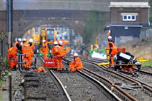 Rail works at Wivelsfield railway station. Photo by Steve Robards