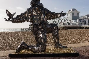 The statue depicts the first man killed during D-Day, Lt Den Brotheridge. Picture: Duncan Shepherd