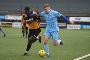 Cray Wanderers v Horsham. Harvey Sparks in action. Picture by John Lines