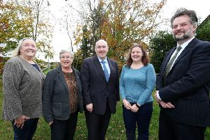 Alderman William Leathem, Chairman of the Council's Development Committee meets with staff and members of the Lagan Navigation Trust to hear all about project 'One for the Heart'.