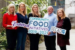 Pictured (L to R): Dr. Cliodhna Foley-Nolan, Director of Human Health & Nutrition at safefood; Fionnuala Dunleavey of the New Lodge Duncairn Community Health Partnership; Gillian Lewis of The Resurgam Trust, Lisburn; Kevin Campbell of Bogside and Brandywell Initiative Derry and Sin�ad Conroy SECAD Partnership CLG.