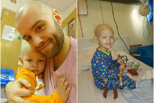 Left shows Birgir Sigmundsson with his son Jonas and right shows Jonas during his treatment. Photos supplied.