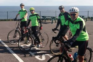 The cycle team, pictured at the Mizen Head start line are, L-R: Noel McKee (Whitehead); Craig Bell (Moira); Andy Beavis (Belfast) and Stephen Brown (Newcastle)