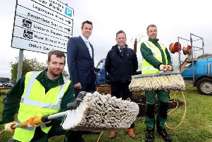 David Burns, Chief Executive of Lisburn & Castlereagh City Council meets up with some of the Grounds Team who have been cleaning signage across the council area.  They are Lee Jackson, Philip McConnell and Stephen Mackle.