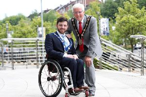 Lisburn and Castlereagh mayor Alan Givan and deputy mayor Johnny McCarthy