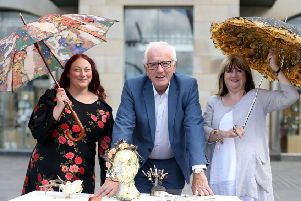 Alderman Allan Ewart MBE, Chairman of the council's Development Committee promotes the upcoming Midsummer Craft In The City event taking place on Saturday 1st June with Julie Warrington and Norma Smallwood, Event Managers.
