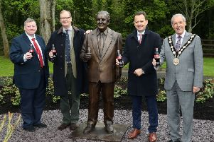 Pictured at the unveiling of a statue to honour the late Mr Terence Robinson are (L-R) Alderman Paul Porter, Tim Robinson, Matthieu Seguin, General Manager of Coca-Cola HBC Ireland & Northern Ireland and Mayor of Lisburn & Castlereagh City Council, Councillor Uel Mackin