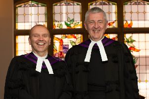 The Right Reverend Dr William Henry (left) minister of Maze Presbyterian Church, the newly elected Moderator of the Presbyterian Church in Ireland with the outgoing Moderator, Very Rev Dr Charles McMullen (right