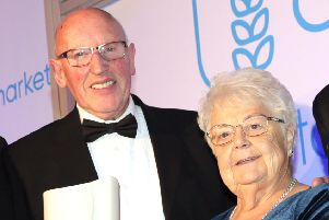 Valerie Crichton, pictured with her husband John, has been awarded a British Empire Medal for services to road racing. Photo: Stephen Davison.