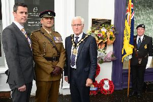Council chief executive David Burns; Lieutenant Colonel C. M Wood, Commanding Officer of NI Garrison Support Unit; Mayor Alan Givan and RBL representatives were among those who attended the commemoration.