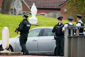 The scene at the top of Upper Dunmurray Lane in west Belfast where a security alert is under way in the Old Colin area. ''Picture by Jonathan Porter/PressEye