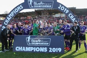 Larne during last season's Bluefin Sport Championship trophy celebrations. Pic by Pacemaker.