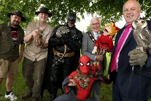 Pictured at the launch of Park Life 2019 with the Mayor Councillor Alan Givan and Alderman James Tinsley, Chairman of the council's Leisure & Community Development Committee are some of the performers who will be taking part in events across Wallace Park, Moat Park and Moira Demesne this summer.