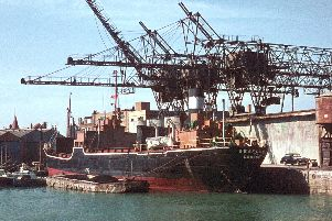 I bet there are not many people about who can remember the cranes working in the Camber unloading coal from a collier. Picture: Graham Steven.