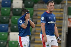 Linfield's Jordan Stewart and Jamie Mulgrew.