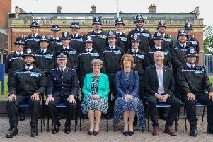 The new Northamptonshire Police recruits with Deputy Chief Constable Simon Nickless and Justices of the Peace Amy Crawfund and Mary Maclean