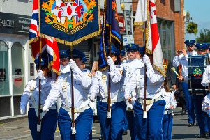 The colour party from Lambeg Orange and Blue. Pic by Ronnie Beattie