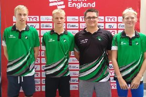 Rugby Swimming Club's Matthew Seaton, Dan Carey, lead coach Lucas Gregory and Anna Farrow