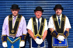 Members of District No 9 at the Hillhall Golden Star RBP 1074 annual parade in Lisburn. Pic by Ronnie Beattie