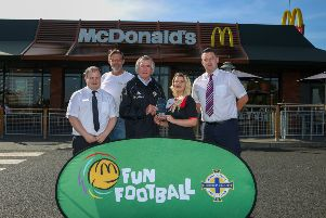 Pictured is Gareth Moore, McDonalds, Malcolm Roberts IFA, Pat Jennings, Kym Mulholland, Lisburn Rovers FC and Gavin Doran, McDonalds