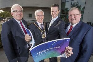Pictured at the launch of the draft Lisburn & Castlereagh Local Development Plan are: Alderman Allan Ewart MBE, Chairman of the Development Committee; the Mayor of Lisburn & Castlereagh City Council, Councillor Alan Givan; David Burns, Chief Executive and Councillor Jonathan Craig, Chairman of the Planning Committee.