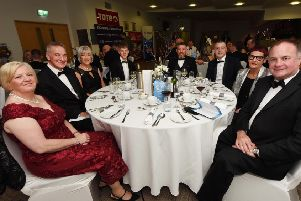 Heather Morton, Colin McDonald, Vivien McDonald, Peter Bradley, Kenny Bradley, Stuart Mowatt, Tanya Lytle and Evan Morton at the Lisburn Chamber Annual Dinner & Dance at Down Royal Racecourse.