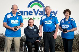 Niall McCool, Fane Valley Group, Communications and Marketing Manager presents Soldierstown Bowling Members with their new playing shirt for the 2019/20 season