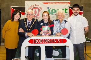 From left Carmel Robinson, Mayor Alan Givan, Sophie Earley, Lady Mary Peters and James Robinson