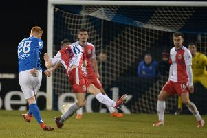 Robert Garrett's deflected shot secured victory for Glenavon over Linfield. Pic by Pacemaker.