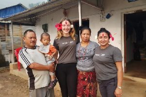 Kathryn's host family pictured on Host Day included are Kathryn, host mum Suja and fellow team members