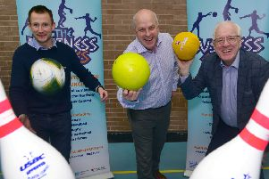 Launching the 2020 'Business Games Challenge' in Lisburn Castlereagh are: Kevin Madden, Sports Development Officer; Alderman James Tinsley, Chairman of the council's Leisure & Community Wellbeing Committee and Alderman Allan Ewart MBE, Chairman of the council's Development Committee.