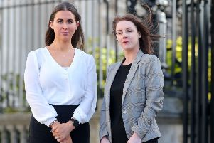 Alliance Party Cllr Sorcha Eastwood outside the High Court in Belfast, with her solicitor Laura Cunningham from Johnson's Solicitors, where she settled her case against the DUP's Graham Craig.  ''Picture by Jonathan Porter/PressEye