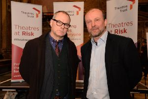 Stand-up comedian and Theatres Trust Ambassador Jack Dee with Bruce Knight of Session House CIC.