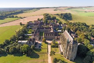 An aerial shot of Lancing College