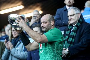 Ireland captain Rory Best with the Centenary Quaich after the win over Scotland