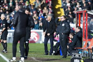 Things got a bit heated between Curle and Cowley on the touchline during Saturday's game. Picture: Kirsty Edmonds