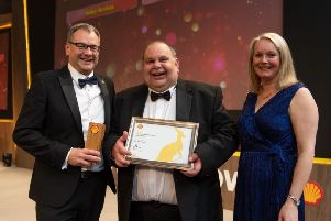 Andrew Baxton, Shell UK Dealer Manager, Guy White and Bernie Williamson, Shell General Manager UK.