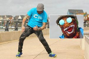 Gary Broughton, 47, is busting some moves around Littlehampton for a cancer cure. Picture: Derek Martin