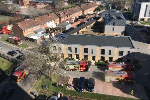 Fire engines at the scene of a blaze at Handsworth House, Somers Town, Portsmouth, on Sunday afternoon. Picture: @Suburban_Jogger on Twitter