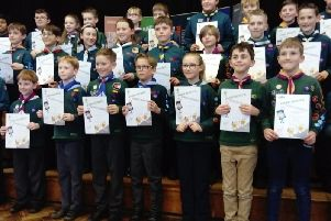 Scouts from across Bucks receive their awards at an event held at Aylesbury High School