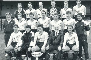 The Littlehampton Town squad from the 1990-91 season, pictured in May 1991