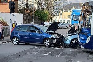 South Farm Road in Worthing is currently blocked due to a two-car collision