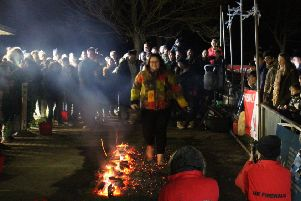 Walking on hot coals for St Barnabas House hospice in Worthing