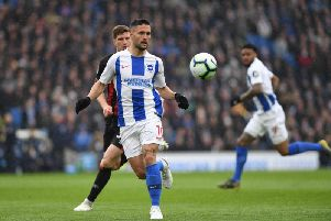 Florin Andone in action for Brighton against Bournemouth. Picture by PW Sporting Photograpy.