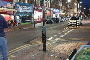 Police on scene in Seaside Road, Eastbourne, photo by Andy St-Claire