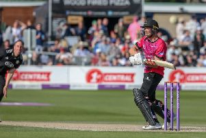Phil Salt finds the boundary in the One Day Cup win over Surrey / Picture by Andrew Hasson for Sussex Cricket