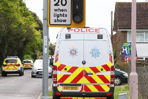 Police at the scene of the incident in Stoney Lane, Shoreham, yesterday