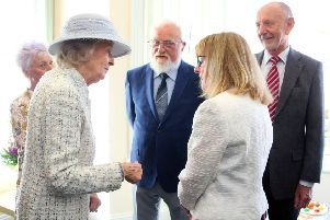Princess Alexandra speaking with Worthing Samaritans director Liz Riach and, from left, deputy director Ann Slocombe, Philip Betts-Allen and Mike Shaw. Picture: Derek Martin DM1951543a